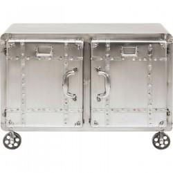 KARE DESIGN Buster skab - sølv stål m. nitter - m. 2 låger, 2 hylder og hjul