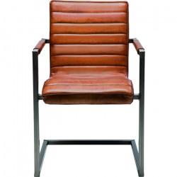 KARE DESIGN Cantilever Riffle Buffalo Brown spisebordsstol - brunt læder og stål, m. armlæn
