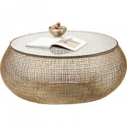 KARE DESIGN Cesta sofabord - messingbelagt stål og klart glas, rund (Ø 105)