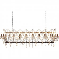 KARE DESIGN Chateau Crystal Rusty Deluxe loftslampe - farvet glas og lakeret stål, m. 20 lysarme