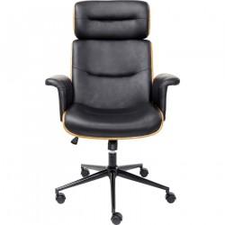 KARE DESIGN Check Out kontorstol - sort kunstlæder/natur finér/sort stål, m. hjul og armlæn