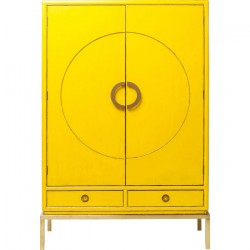 KARE DESIGN Disk garderobeskab - gul træ m. cirkelmønster, m. 2 skuffer