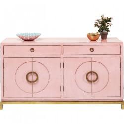 KARE DESIGN Disk Pink skænk - lyserødt træ og kobberbelagt stål, m. 4 låger og 2 skuffer