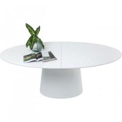 KARE DESIGN Extension Benvenuto ovalt spisebord - hvid højglans træ, m. butterflyplade (200(50)x110)