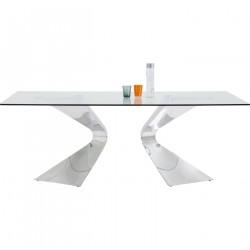 KARE DESIGN Gloria Chrome spisebord - glasplade og stål (200x100)