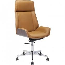 KARE DESIGN High Bossy kontorstol - lysebrunt kunstlæder/valnøddefinér, m. hjul