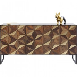 KARE DESIGN Illusion Gold skænk - stål/brunt genbrugstræ, m. 3 låger