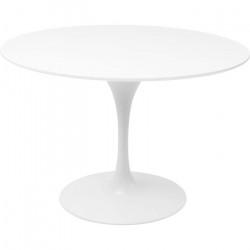 KARE DESIGN Invitation spisebord - hvid fiberglas, metal og træ, rundt (Ø:120)