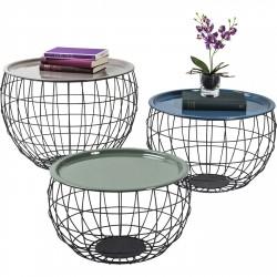 KARE DESIGN La Costa Wire sofabord - multifarvet emalje/sort stål, rundt (3/sæt)