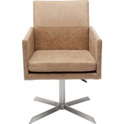 KARE DESIGN New York Beige kontorstol m. armlæn - beige polyester og krom stål