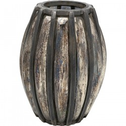 KARE DESIGN oval Refled lanterne - glas m. børstet aluminium (H 42)