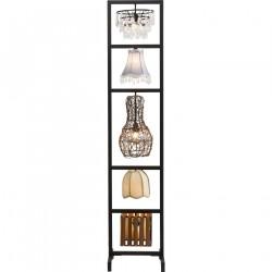 KARE DESIGN Parecchi Art House Small gulvlampe - multifarvet stål/stof/bambus/rattan/krystal (176cm)