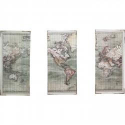KARE DESIGN Plakat, Triptychon Map - Multifarvet MDF Træ, (120x118cm)