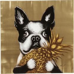 """KARE DESIGN """"Touched Dog with Pineapple"""" billede - multifarvet (80x80)"""
