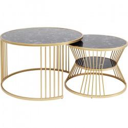 KARE DESIGN Roma sofabord - marmor og stål (sæt af 2)