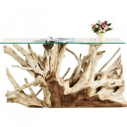 KARE DESIGN Roots konsolbord - klart glas/natur teaktræ, unik (150x40)