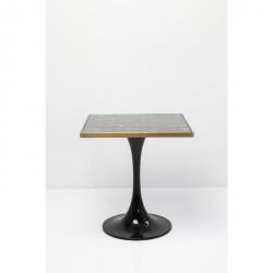 KARE DESIGN San Remo Schwarz Square cafébord - sort lamineret glas og messing/sort stål (72x72)