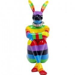 KARE DESIGN Sitting Rabbit Rainbow skulptur - multifarvet fiberglas (H:80)