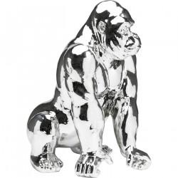 KARE DESIGN Skulptur, Gorilla Chrome - Sølv polyresin, (57x46cm)