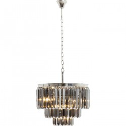 KARE DESIGN Smoky Lounge Round loftlampe - krystalglas/sølv stål
