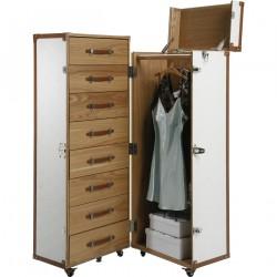 KARE DESIGN Trunk Croco White garderobeskab - hvid kunstlæder, m. 8 skuffer, 1 hylde og knager