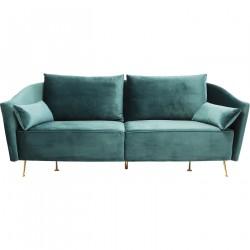 KARE DESIGN Vegas Forever Bluegreen 3-personers sofa - blå/grønt stof og guld stål, m. armlæn