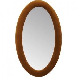 KARE DESIGN Velvet spejl - brun poly-velour stof og spejlglas, oval (150x90)
