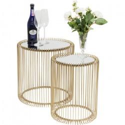 KARE DESIGN Wire sidebord - guldfarvet stål og spejlglas, 2 borde