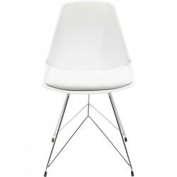 KARE DESIGN Wire spisebordsstol - hvid kunstlæder og plast