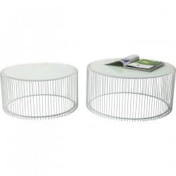 KARE DESIGN Wire White sofabord - hvidt glas/stål, rundt (2/sæt)