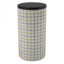 Keramik krukke (grÅ/gul/hvid)
