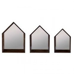 KJ Collection Bogkasse - 3 stk. - Træ - Spejl - Brun - H 47,0cm - L 35,0cm - B 12,0cm - Sæt
