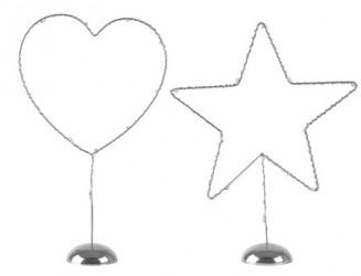 KJ Collection Figur - m. LED lys - Usorteret - Metal - PP - Sølv - H 22,5cm - L 15,5cm - B 5,5cm - Stk.