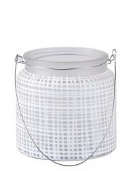 KJ Collection Fyrfadsstage - m. hank - Glas - Metal - Hvid - D 10,0cm - H 10,0cm - Stk.