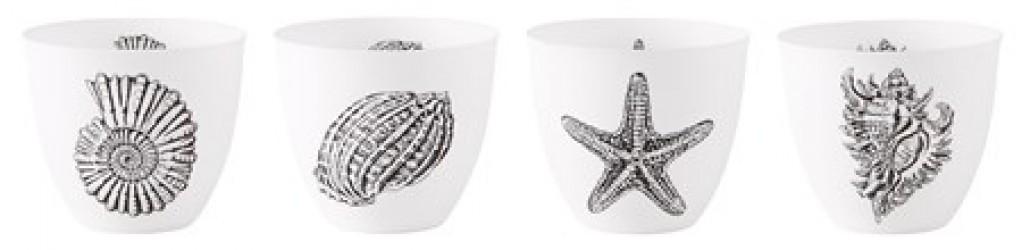 KJ Collection Fyrfadsstage - m. print - Usorteret - Porcelæn - Hvid - Sort - D 9,0cm - H 8,0cm - Stk.