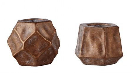 KJ Collection Fyrfadsstage - Usorteret - Cement - Bronze - D 9,0cm - H 7,5cm - Stk.
