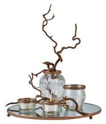 KJ Collection Fyrfadsstage - Vase, lystallerken - Glas - Metal - Kobber - Klar - Gaveæske - Sæt
