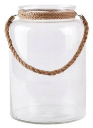 KJ Collection Hurricane - m. reb - Glas - Jute - Klar - D 23,5cm - H 34,0cm - Stk.