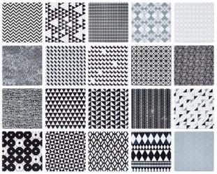 KJ Collection Kakkel - m. grafisk mønster - 20 usorteret - Keramik - Hvid - Sort - H 0,7cm - L 10,0cm - B 10,0cm - Stk.