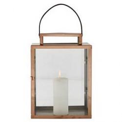 KJ Collection Lanterne - m. rem - Rustfri stål - Glas - Kobber - H 32,0cm - L 17,5cm - B 23,0cm - Gaveæske - Stk.