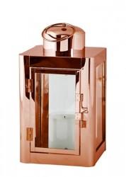 KJ Collection Lanterne - Rustfri stål - Glas - Kobber - H 16,0cm - L 10,0cm - B 9,2cm - Stk.