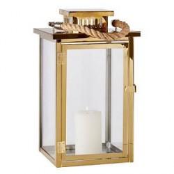 KJ Collection Lanterne - Rustfri stål/Messing - Glas - Messing - H 30,0cm - L 17,0cm - B 17,0cm - Gaveæske - Stk.