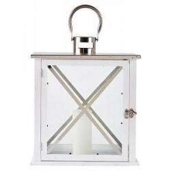 KJ Collection Lanterne - Træ - Metal - Hvid - Sølv - H 39,0cm - L 31,0cm - B 19,0cm - Gaveæske - Stk.
