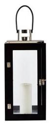 KJ Collection Lanterne - Træ - Metal - Sort - Sølv - H 41,0cm - L 20,0cm - B 20,0cm - Gaveæske - Stk.