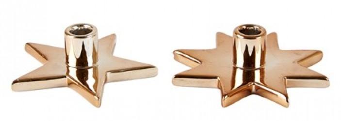 KJ Collection Lysestage - Usorteret - Dolomite - Kobber - D 9,5cm - H 3,0cm - L 9,5cm - B 9,5cm - Stk.