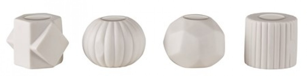 KJ Collection Lysestage - Usorteret - Porcelæn - Hvid - Mat - D 6,5cm - H 6,0cm - Stk.