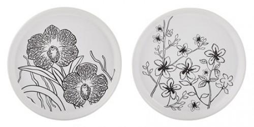 KJ Collection Lystallerken - m. blomst - Usorteret - Keramik - Hvid - Sort - D 16,0cm - H 2,0cm - Stk.