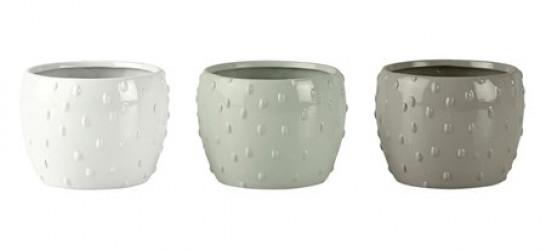 KJ Collection Skjuler - 3 stk. - Keramik - Mint - Offwhite - Grå - D 7,5cm - H 7,0cm - Gaveæske - Stk.