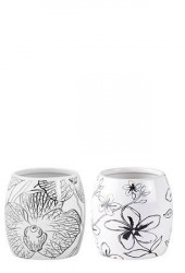 KJ Collection Vase - m. blomst - Usorteret - Keramik - Hvid - Sort - D 10,0cm - H 10,0cm - Stk.