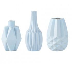 KJ Collection Vase - Usorteret - Keramik - Lyseblå - Mat - D 8,0cm - H 12,0cm - Gaveæske - Stk.